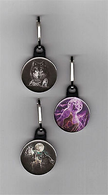 "Wolves Set of 3 - 1"" Zipper Pulls Wolf Zipper Charms Animals Wildlife"