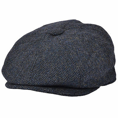 G & H Blue 100% Wool Herringbone 8 Panel Peaky Blinders Style Newsboy Cap Hat