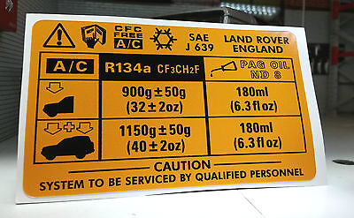 A/C Air Conditioning V8 Decal Sticker AWR1322 Land Rover Discovery Range Classic