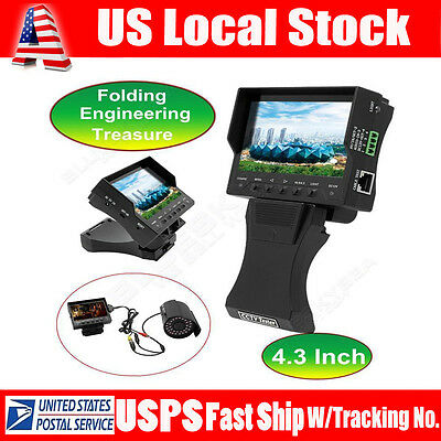 "4.3""TFT LCD Foldable CCTV Cam Audio Video Security Tester RJ45Cable Test Monitor"