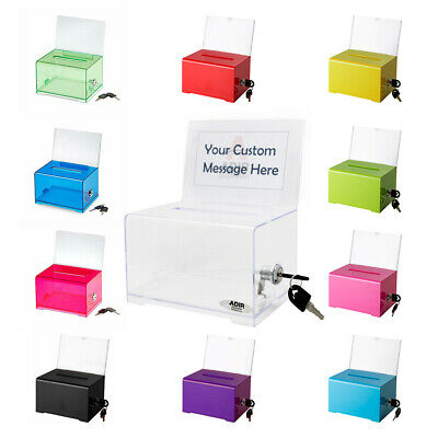 Adir Acrylic Suggestion Box 637 Donation & Ballot Box With Lock Multiple Colors