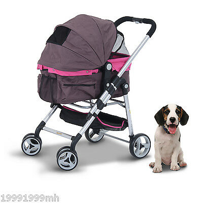 PawHut Deluxe 4 Wheel Pet Stroller Cat Dog Folding Jogger Carrier Travel Violet