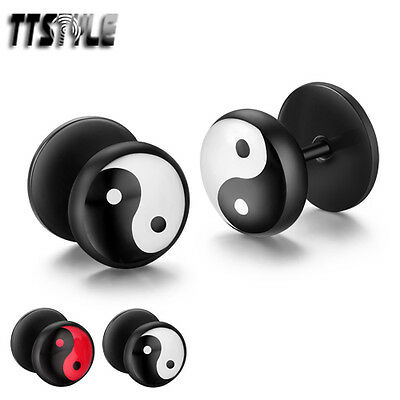 TTstyle 10mm Round Ying&Yang Black Stainless Steel Fake Ear Plug Earrings A Pair