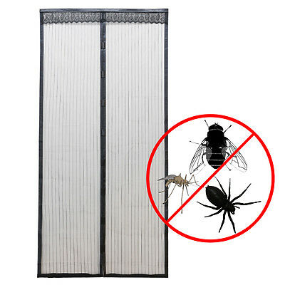 Black Mesh Hands-Free Screen Door Anti Mosquito Bug Magnetic Closure 100 x 220cm