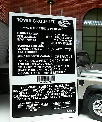 Land Range Rover 1997 SE V8 4.6 Gas Catalyst Information Label Decal AWR5985 P38