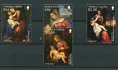 Turks & Caicos 2015 MNH Christmas Titian Paintings 4v Set Madonna & Child Art