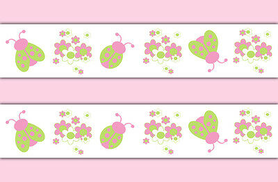 Pink Green Ladybug Wallpaper Border Wall Decals Baby Girl Nursery Art Stickers