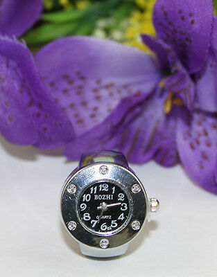 5pcs Rhinestone Black Round Silver Finger Ring Watch #22397