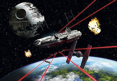 Star Wars Wall Mural photo Wallpaper for kids room 368x254cm Millennium Falcon
