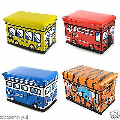 Kids Storage Box Seat Toy Stool Books Clothes Chest Childrens Girls Boys