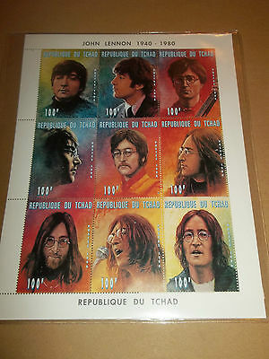 John Lennon ( Beatles ) 1940 - 1980 Set Of 9 X Official Chad Stamps With Coa Ltd