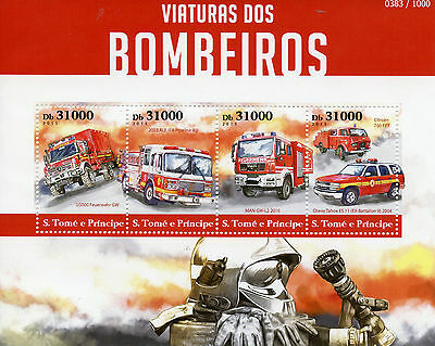 Sao Tome & Principe 2015 MNH Fire Engines 4v M/S Trucks Chevy Tahoe Feuerwehr