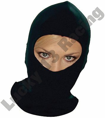 Black balaclava helmet inner liner synthetic silk motor cycle bike scooter quad