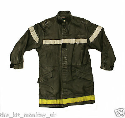 French Fire Service / Pompiers Long Leather Jacket - Used condition