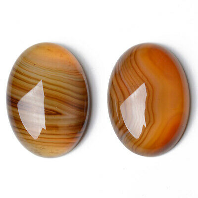 1 x Orange Banded Agate 18 x 25mm Oval-Shaped Flat-Backed Cabochon CA17388-3