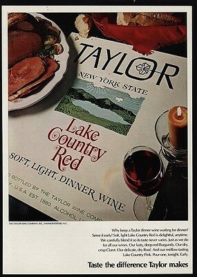 1971 TAYLOR New York Lake Country Red Dinner Wine VINTAGE MAGAZINE ADVERTISEMENT