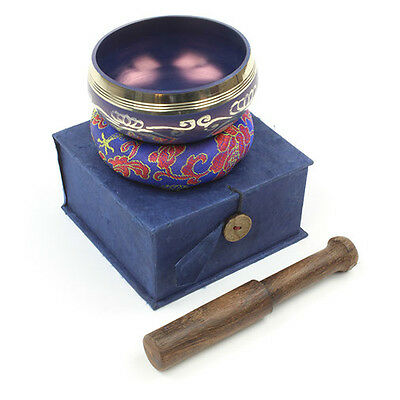 Beautiful Healing Third Eye Chakra Design Tibetan Singing Bowl Gift Set