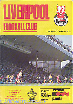 1985/86 LIVERPOOL (Winners) V NORWICH CITY 04-01-1986 FA Cup 3rd Round