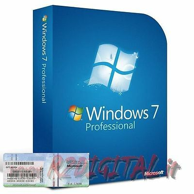 Windows 7 Pro Dvd + Coa Sticker Licenza Originale Sistema Operativo Pc Notebook