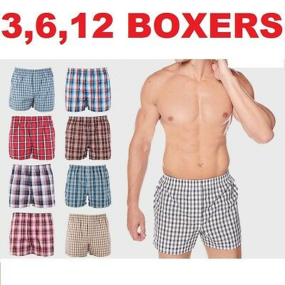 New 6 Mens Boxers Plaid Shorts Underwear Lot Cotton Briefs Pairs Pack Size S-4XL