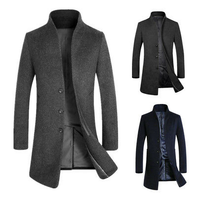 Mens Wool Trench Coat Jacket Mid Long Winter Warm Jacket  Peacoat Overcoat