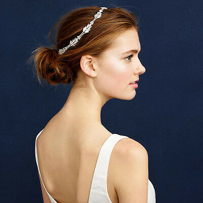 Lux Vintage Sparkle Leaves  Rhinestone Headband Wedding Party Bridal Hairpiece