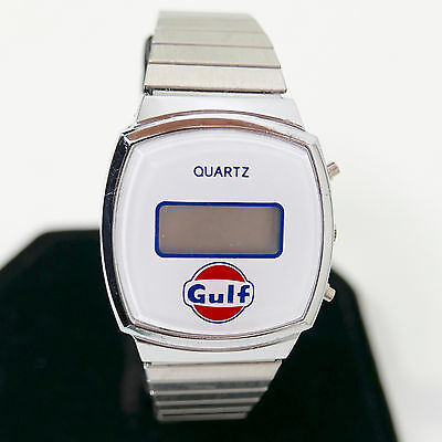 Vintage 1960's? 1970's?  LCD advertising Watch with GULF OIL emblem Logo