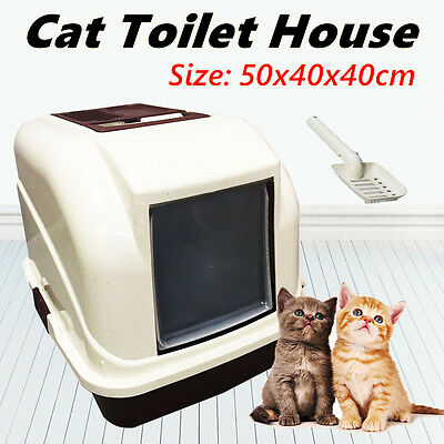 Cat Pet Toilet Litter Box Tray Portable Hooded House Handle Scoop Carrier New