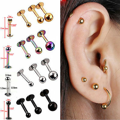 yh 5x Ball Stainless Steel Tragus Cartilage Helix Bar Ring Stud Earring Piercing