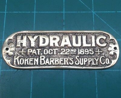 "Koken Barber Shop Chair Hydraulic 1895 Brass Name Plate Tag Placard 3.75""x1.25"""
