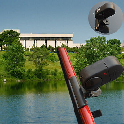 Black Electronic LED Light Fish Bite Sound Alarm Bell Clip In Fishing Rod TIAU