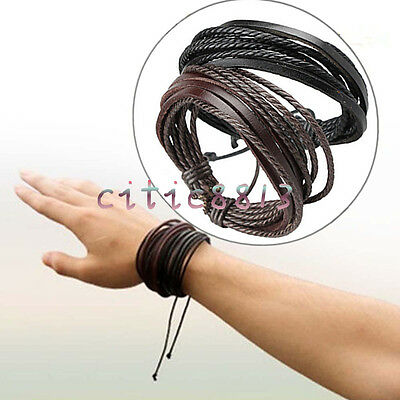 Men Boy Cool Surfer Tribal Wrap Multilayer Genuine Leather Cuff Bracelet Bangle