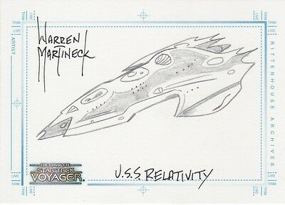 Complete Star Trek Voyager Warren Martineck / U.S.S. Relativity Sketch Card