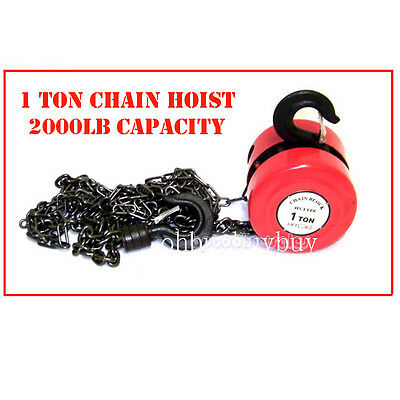 New 2000lb 1 Ton Chain Hoist Winch Engine Lift System Rigging Puller Block Fall