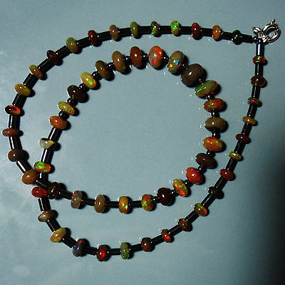 Collier argent Opale Ethiopienne chocolat 42cm VIDEO silver opal necklace welo