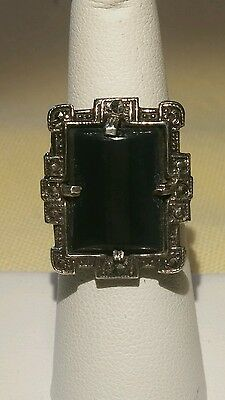 Vintage Beautiful Sterling Silver Hematite and Black Jet Ring size 6