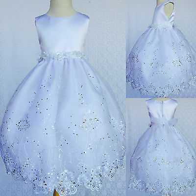 White Flower Girl Bridesmaids Communion Baptism Toddler Embroidery Dress #36