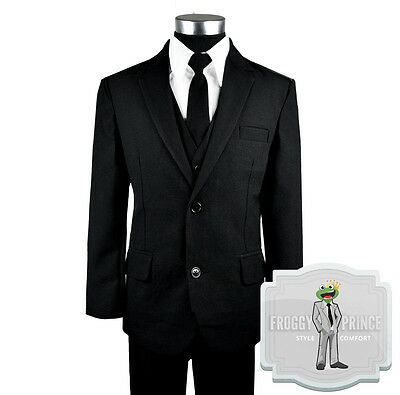 Kids Formal Wear Black Suit and Tie Includes Suit, Tie, Shirt, Vest and Pants