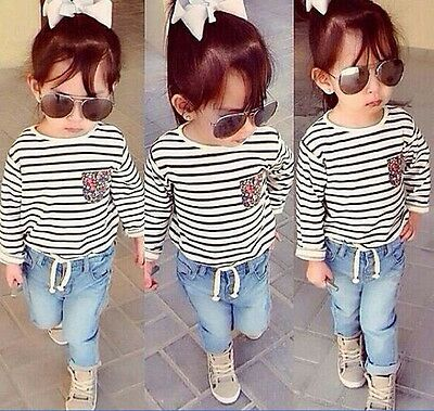 Outfits & Sets 2pcs Kids Baby Girls T-Shirt + Denim Pants Set Children Clothes