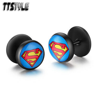 TTstyle 10mm Superman Round  Black Stainless Steel Fake Ear Plug Earrings A Pair