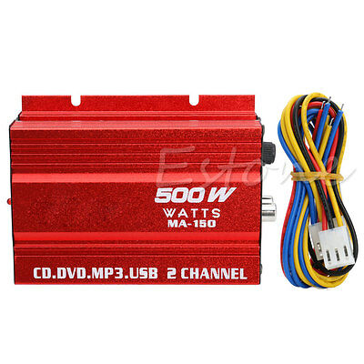 500W 2-Channel USB Mini Hi-Fi Stereo Audio Amp Amplifier For Car Motorcycle