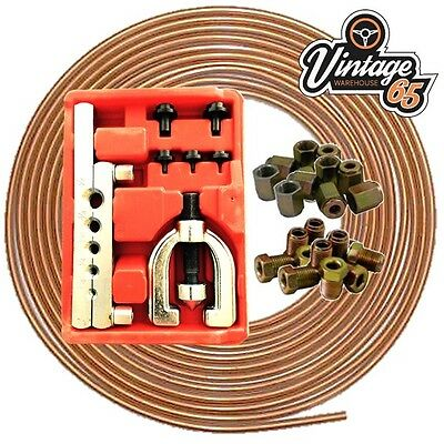 Copper Brake Pipe Line Kit 3/16 Flaring Tool Kit Male Female Unions Nuts Ends