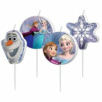 CANDELINE FROZEN 4 PZ Party Festa Compleanno Disney Elsa Anna Olaf Torta 999257