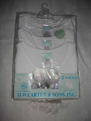 Baby  H.W.Carter & Sons Pack of 3 WHITE Tank tops Size 000  00  0