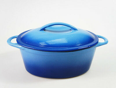 NEW - BLUE 24cm 2.8L CAST IRON OVAL CASSEROLE PAN POT DISH SAUCEPAN DUTCH OVEN