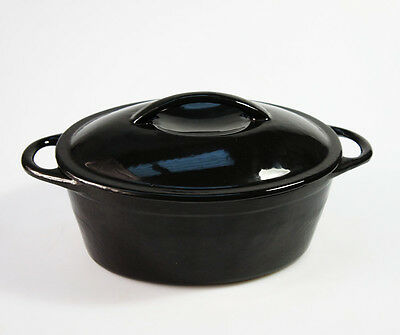 NEW - BLACK 24cm 2.8L CAST IRON OVAL ENAMELLED CASSEROLE PAN DISH POT DUTCH OVEN