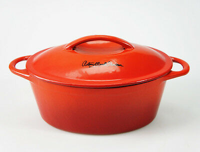 24cm 2.8L RED CAST IRON OVAL CASSEROLE DISH PAN POT SAUCEPAN DUTCH OVEN LID