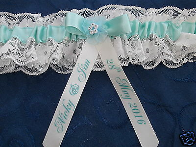 Personalised Aqua Green & Ivory Lace Wedding Garter With Diamante *new In Box*