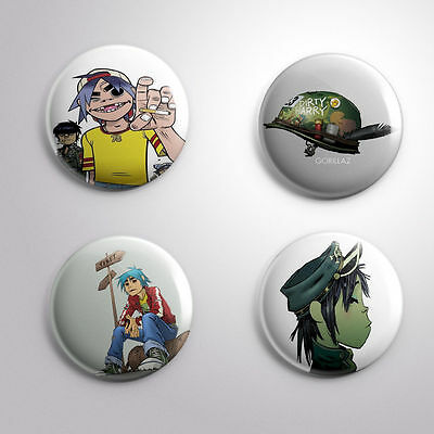 4 GORILLAZ -  Pinbacks Badge Button 25mm 1''