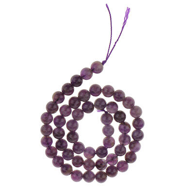 8mm Amethyst Round Gemstone Beads Strand 45 Beads for DIY Jewelry Making 15""